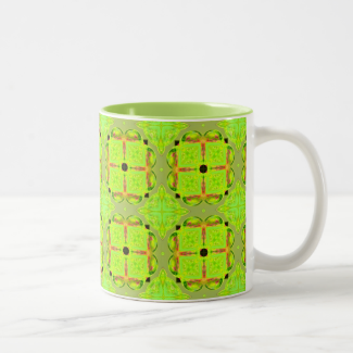Lime Gold Geometric Squares Diamonds Mug