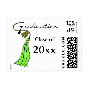 Beach Themed Lime Graduation Tassel And Ring Postage Stamps