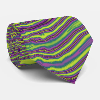 Lime & Grape Striped Fractal Tie