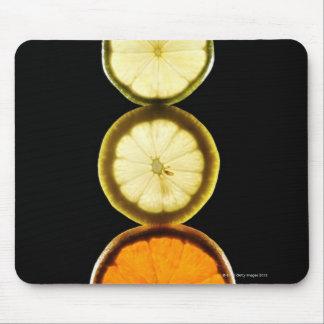 Lime,Grapefruit,Lemon,Fruit,Black background Mouse Pad
