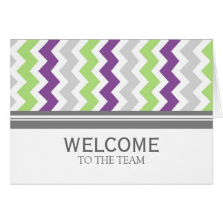 Lime Gray Chevron Employee Welcome to the Team Card