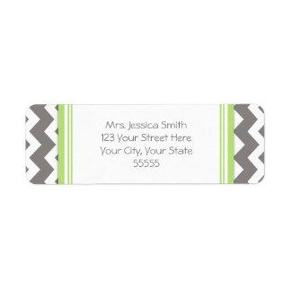 Lime Gray Chevrons Custom Return Address Labels