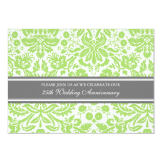 Lime Gray Damask 25th Anniversary Party Invitation