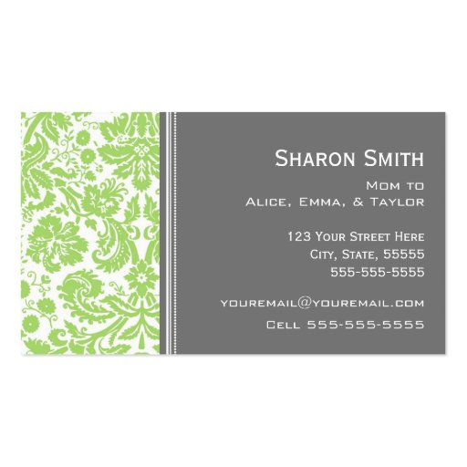 Lime Gray Damask Mom Calling Cards Business Card Templates