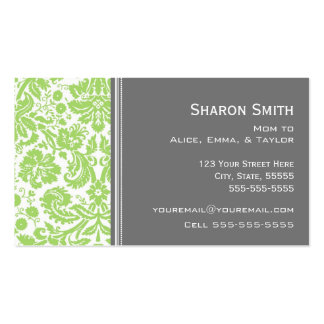 Lime Gray Damask Mom Calling Cards Double-Sided Standard Business Cards (Pack Of 100)