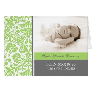 Lime Gray It's a Girl Photo Birth Announcement