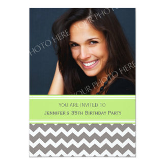 Lime Gray Photo 35th Birthday Party Invitations