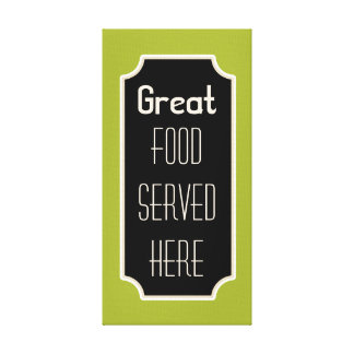 Lime Great Food Sign Canvas