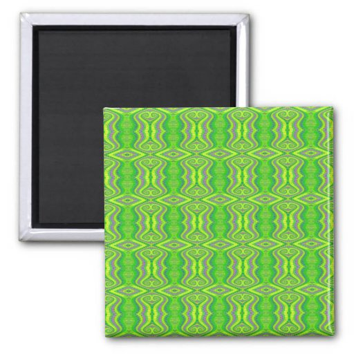 Lime Green 60's Retro Fractal Pattern 2 Inch Square Magnet