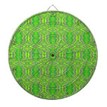 Lime Green 60's Retro Fractal Pattern Dart Boards