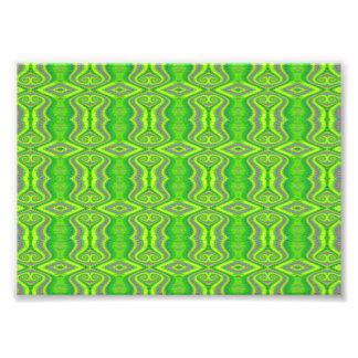Lime Green 60's Retro Fractal Pattern Photo Print