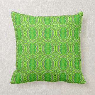 Lime Green 60's Retro Fractal Pattern Throw Pillow