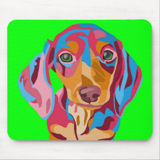 Lime Green Abstract Dachshund Mouse Pad