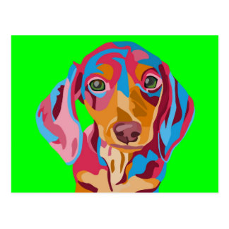 Lime Green Abstract Dachshund Postcard