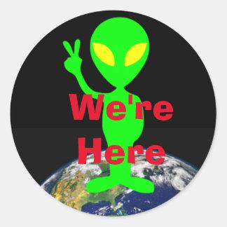 "Lime Green Alien ""We're Here"" Sticker"