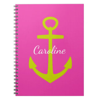 Lime Green Anchor on Diva Pink Personalized Notebook