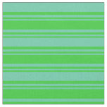 [ Thumbnail: Lime Green and Aquamarine Colored Lines Pattern Fabric ]