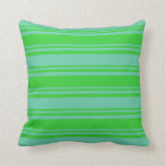 [ Thumbnail: Lime Green and Aquamarine Colored Lines Pattern Throw Pillow ]