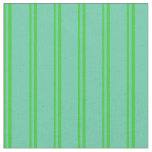 [ Thumbnail: Lime Green and Aquamarine Colored Stripes Pattern Fabric ]