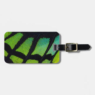 Lime green and black butterfly wing luggage tag