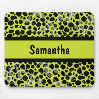 Lime Green and Black Cheetah pattern Mousepads