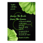 Lime Green and Black Daisies Wedding Template Invitations