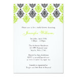 Lime Green and Black Damask Bridal Shower Announcements