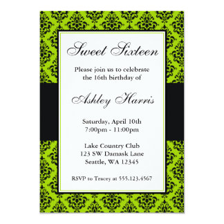 Lime Green and Black Damask Sweet Sixteen Birthday Card