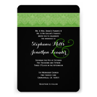 Lime Green and Black Damask Wedding Template V08 Personalized Invitation