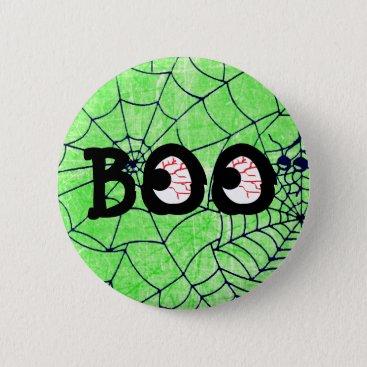 Halloween Themed Lime Green and Black Halloween Boo Eyeballs Button
