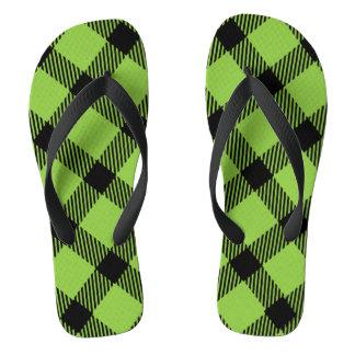 Lime Green and Black Plaid Design Flip Flops