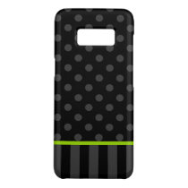 Lime Green and Black Polka Dot Stripes Case-Mate Samsung Galaxy S8 Case