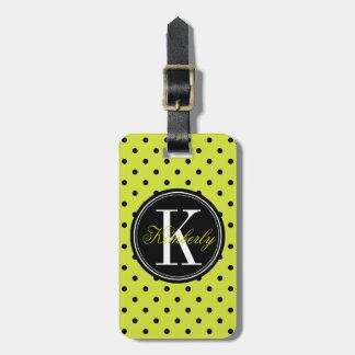 Lime Green and Black Polka Dot with Black Monogram Bag Tag