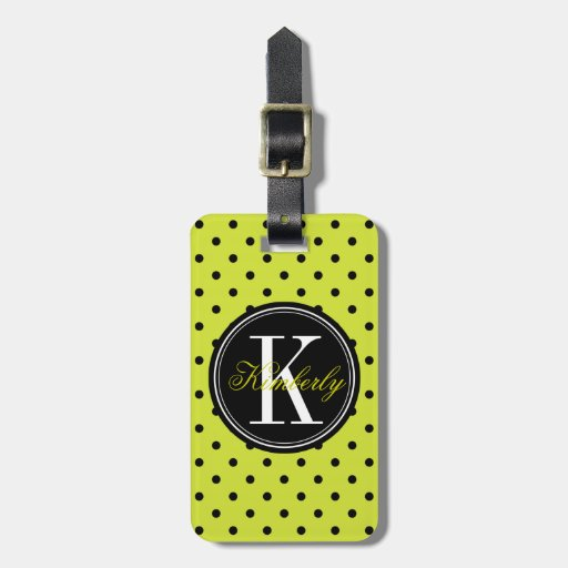 Lime Green and Black Polka Dot with Black Monogram Tags For Bags