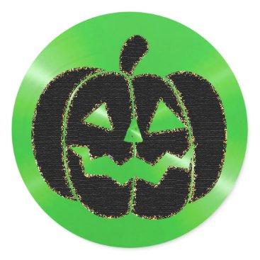 Halloween Themed Lime Green and Black Pumpkin Halloween Stickers