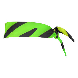 Lime Green and Black stripes art design Tie Headband