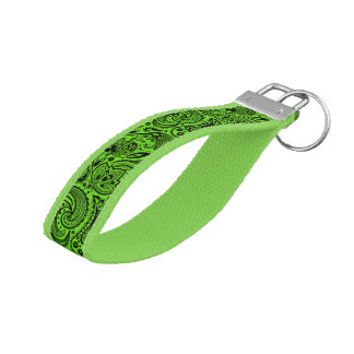 Lime Green And Black Vintage Paisley Pattern Wrist Keychain