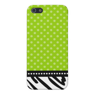 Lime Green and Black Zebra Polka Dot Cover For iPhone SE/5/5s