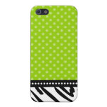 Lime Green and Black Zebra Polka Dot iPhone 5 Case