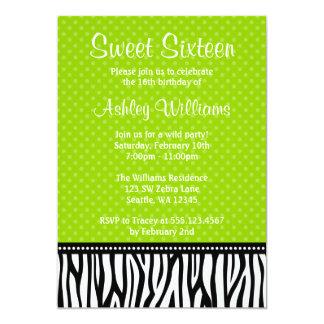 Lime Green and Black Zebra Polka Dot Sweet 16 Card