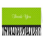 Lime Green and Black Zebra Polka Dot Thank You Stationery Note Card