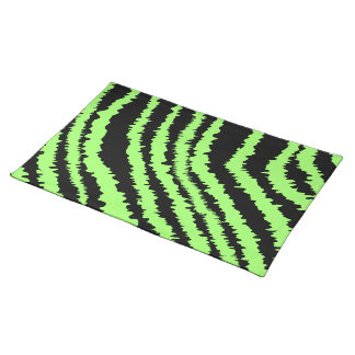 Lime Green and Black Zebra Print Pattern Cloth Placemat