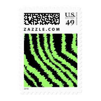 Lime Green and Black Zebra Print Pattern Postage Stamp
