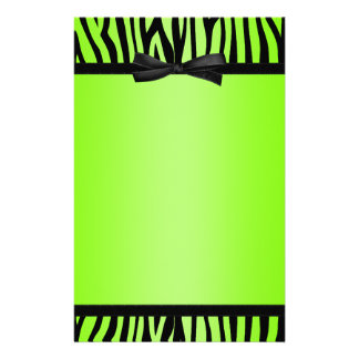 Lime Green and Black Zebra Printed Bow Stationery