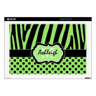 "Lime Green and Black Zebra Stripe Polka Dot Laptop 17"" Laptop Decal"