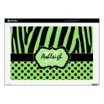 "Lime Green and Black Zebra Stripe Polka Dot Laptop 17"" Laptop Skin"