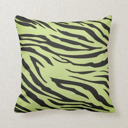 Lime Green and Black Zebra Stripe Throw Pillow Zazzle