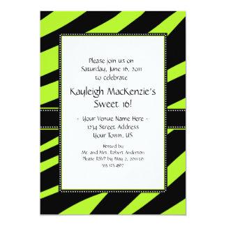 Lime Green and Black Zebra Stripes Sweet 16 Invita Card