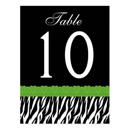 Lime Green and Black Zebra Table Number ver 03 Postcard