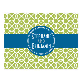 Lime Green and Blue Modern Patterns Post Card